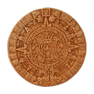 Handmade Ceramic 'Aztec Calendar in Tan' Plaque (Mexico)
