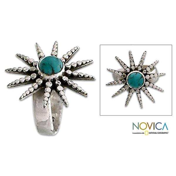 Handmade Sterling Silver 'Balinese Sunshine' Turquoise Ring (Indonesia)