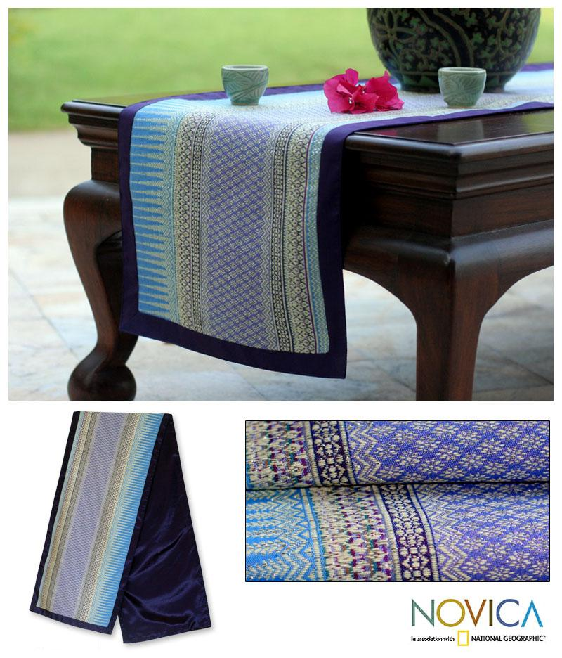 Silk and Cotton 'Radiant Sky' Table Runner (Thailand)