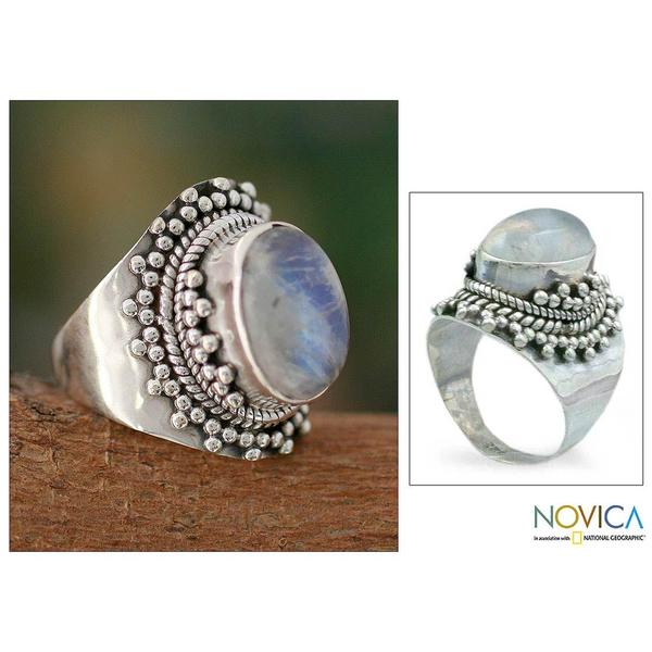 Sterling Silver 'Radiant Moon' Moonstone Cocktail Ring (India)