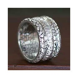Handmade Sterling Silver Men's 'Cobbled Paths' Ring (Indonesia)