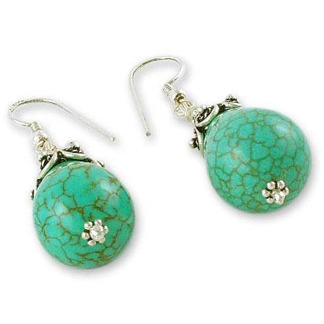 b6d3d843f Shop Handmade Sterling silver 'Glimpse of Heaven' Turquoise Dangle Earrings  (India) - Free Shipping Today - Overstock - 6549556