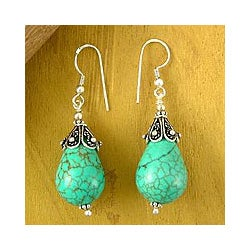 Sterling silver 'Glimpse of Heaven' Turquoise Dangle Earrings (India)