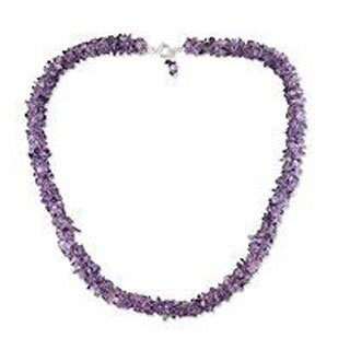 Handmade Amethyst 'Lovely Lilacs' Beaded Necklace (India) - Purple