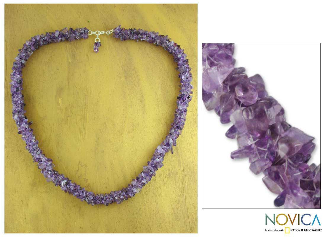 Handmade Amethyst 'Lovely Lilacs' Beaded Necklace (India)