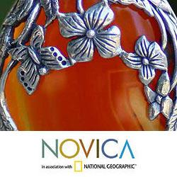 Sterling Silver 'Summer Passion' Carnelian Necklace (Indonesia) - Thumbnail 2