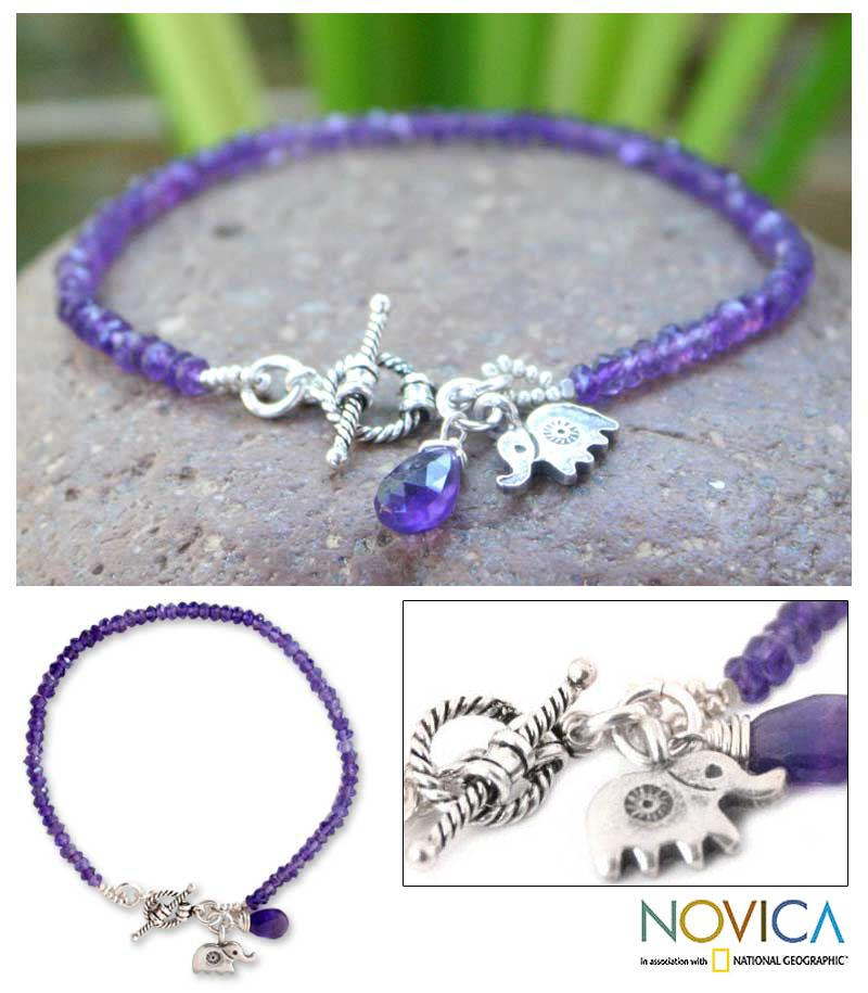 Fortunes Purple Amethyst Gemstones with Elephant Charm and Toggle Catch in 925 Sterling Silver Womens Beaded Bracelet (Thailand)