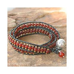Carnelian Handmade 'Bright Day' Leather Wrap Bracelet (Thailand)