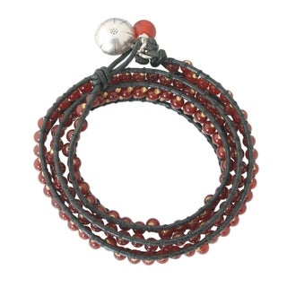 Carnelian Handmade 'Bright Day' Leather Wrap Bracelet (Thailand)