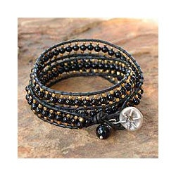 Leather 'All Night' Onyx Wrap Bracelet (Thailand)