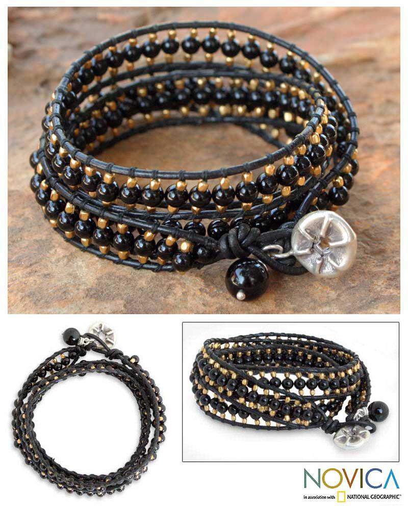 Handmade Leather 'All Night' Onyx Wrap Bracelet (Thailand)