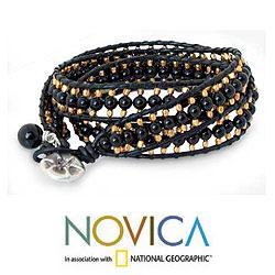 Handmade Leather 'All Night' Onyx Wrap Bracelet (Thailand) - Thumbnail 1