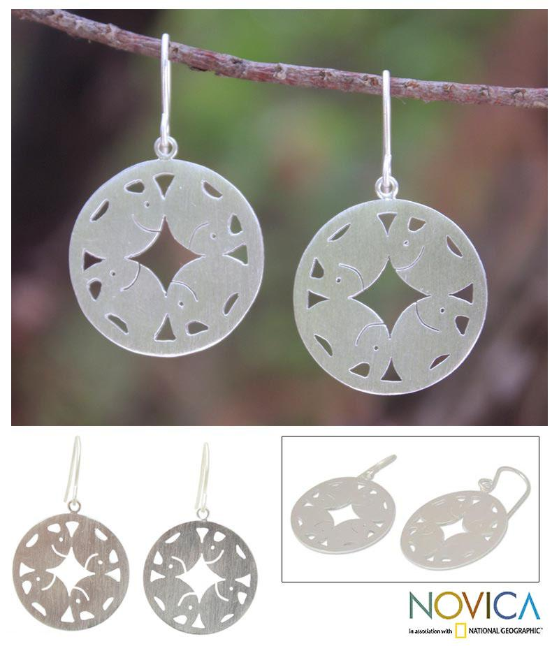 Sterling Silver 'Elephant Moon' Earrings (Thailand)