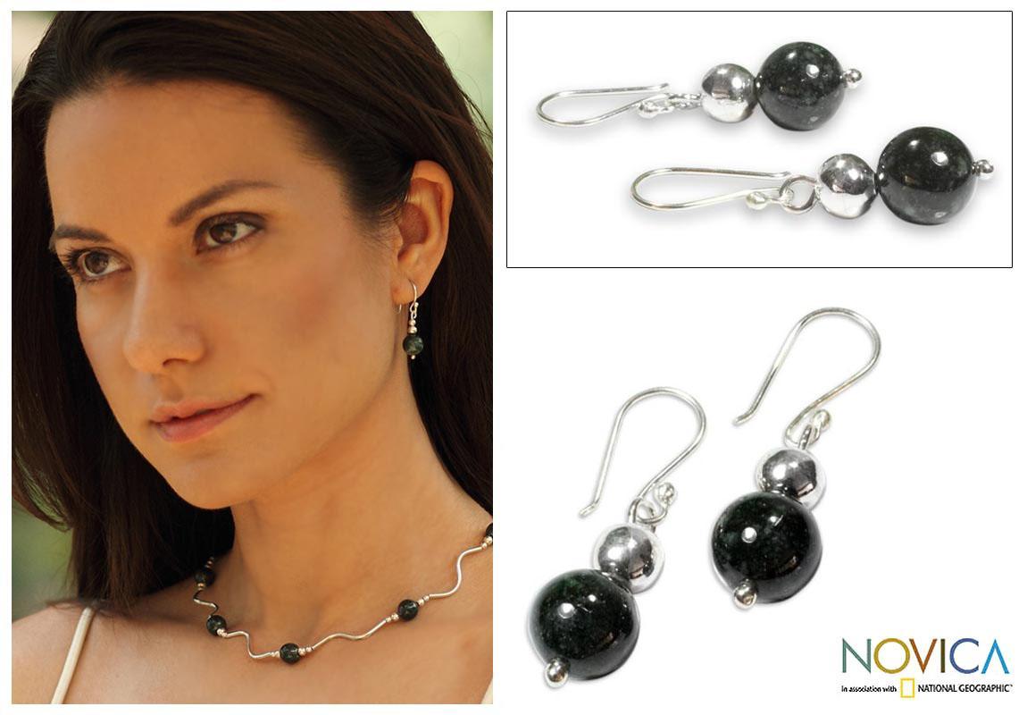 Sterling Silver 'Jaguar Moon' Jade Earrings (Guatemala)