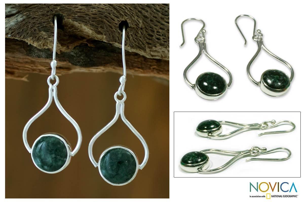 Handmade Sterling Silver 'Modern Mixco' Jade Earrings (Guatemala)