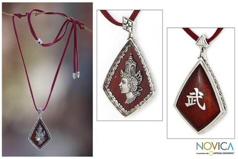 Handmade Sterling Silver 'Rama Warrior Spirit' Arang Wood Necklace (Indonesia)