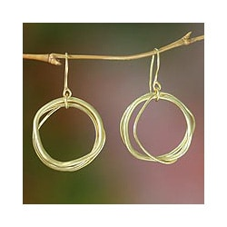 Gold Overlay 'Tiga Surprise' Dangle Earrings (Indonesia)