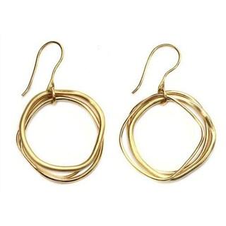 Handmade Gold Overlay 'Tiga Surprise' Dangle Earrings (Indonesia)