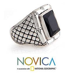 Kingdom of Night Unique Handmade Modern Square Cut Faceted Black Onyx Set in 925 Sterling Silver Mens Ring (Indonesia) - Thumbnail 1