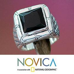 Kingdom of Night Unique Handmade Modern Square Cut Faceted Black Onyx Set in 925 Sterling Silver Mens Ring (Indonesia) - Thumbnail 2