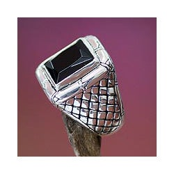 Kingdom of Night Unique Handmade Modern Square Cut Faceted Black Onyx Set in 925 Sterling Silver Mens Ring (Indonesia)