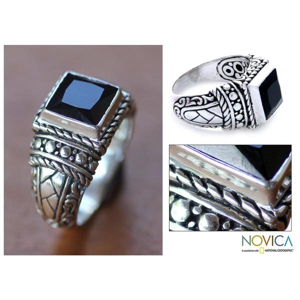 Handmade Sterling Silver Men's 'Sultan' Onyx Ring (Indonesia)