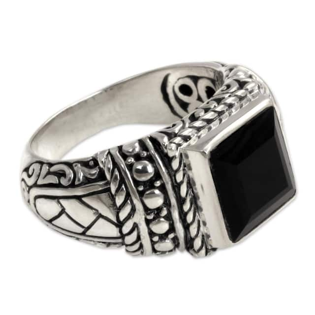 Sterling Silver Men's Sultan Onyx Ring