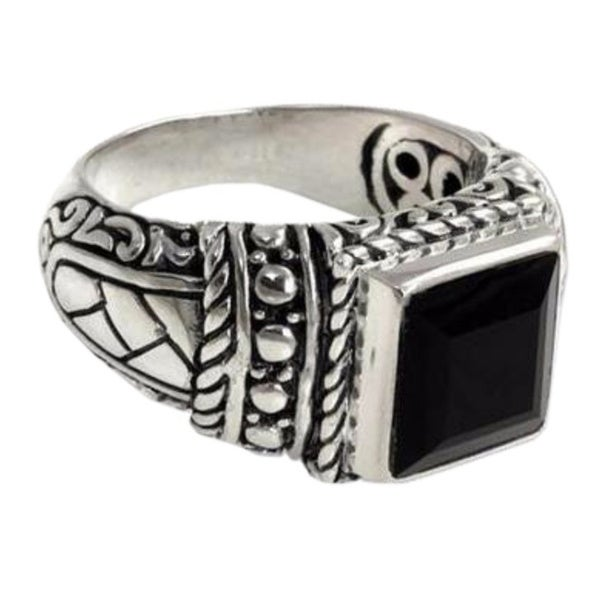 Handmade Sterling Silver Men's Sultan Onyx Ring (Indonesia)