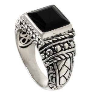 Handmade Sterling Silver Men's 'Sultan' Onyx Ring (Indonesia) - Black