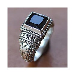 Handmade Sterling Silver Men's 'Sultan' Onyx Ring (Indonesia)