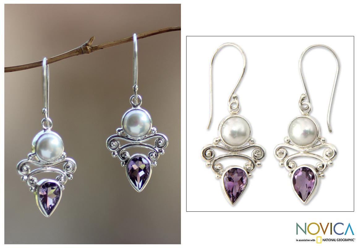 Handmade Silver 'Guardian Moon' Pearl Amethyst Earrings (8.5 mm) (Indonesia)