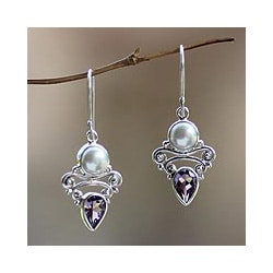 Handmade Silver 'Guardian Moon' Pearl Amethyst Earrings (8.5 mm) (Indonesia)