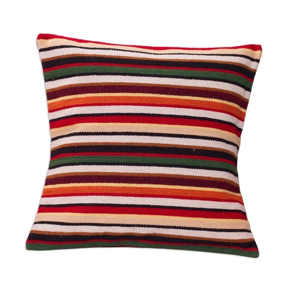 Handmade Wool 'Parallel Symphony' Cushion Cover (Peru)