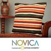 Handmade Wool 'Parallel Symphony' Cushion Cover (Peru)