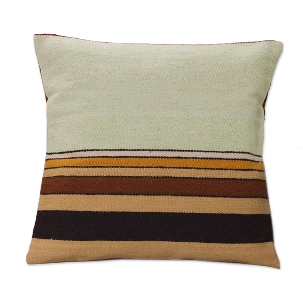 Handmade Wool 'Parallel Contrasts' Cushion Cover (Peru)