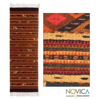 Mex Wool 'Life In Oaxaca' Zapotec Rug (2.5x10) (Mexico)