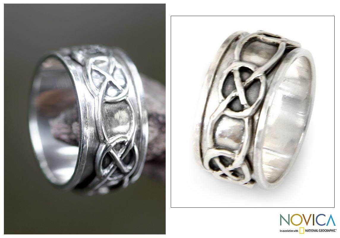 Handmade Sterling Silver Men's 'Chains' Spinner Ring (Indonesia)