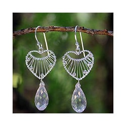 Handmade Sterling Silver 'Web of Love' Rose Quartz Heart Earrings (Thailand)