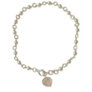 Handmade Sterling Silver 'Love Song' Rose Quartz Anklet (India)