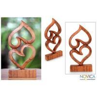 Handmade Suar Wood 'Upside Down Love' Sculpture (Indonesia)