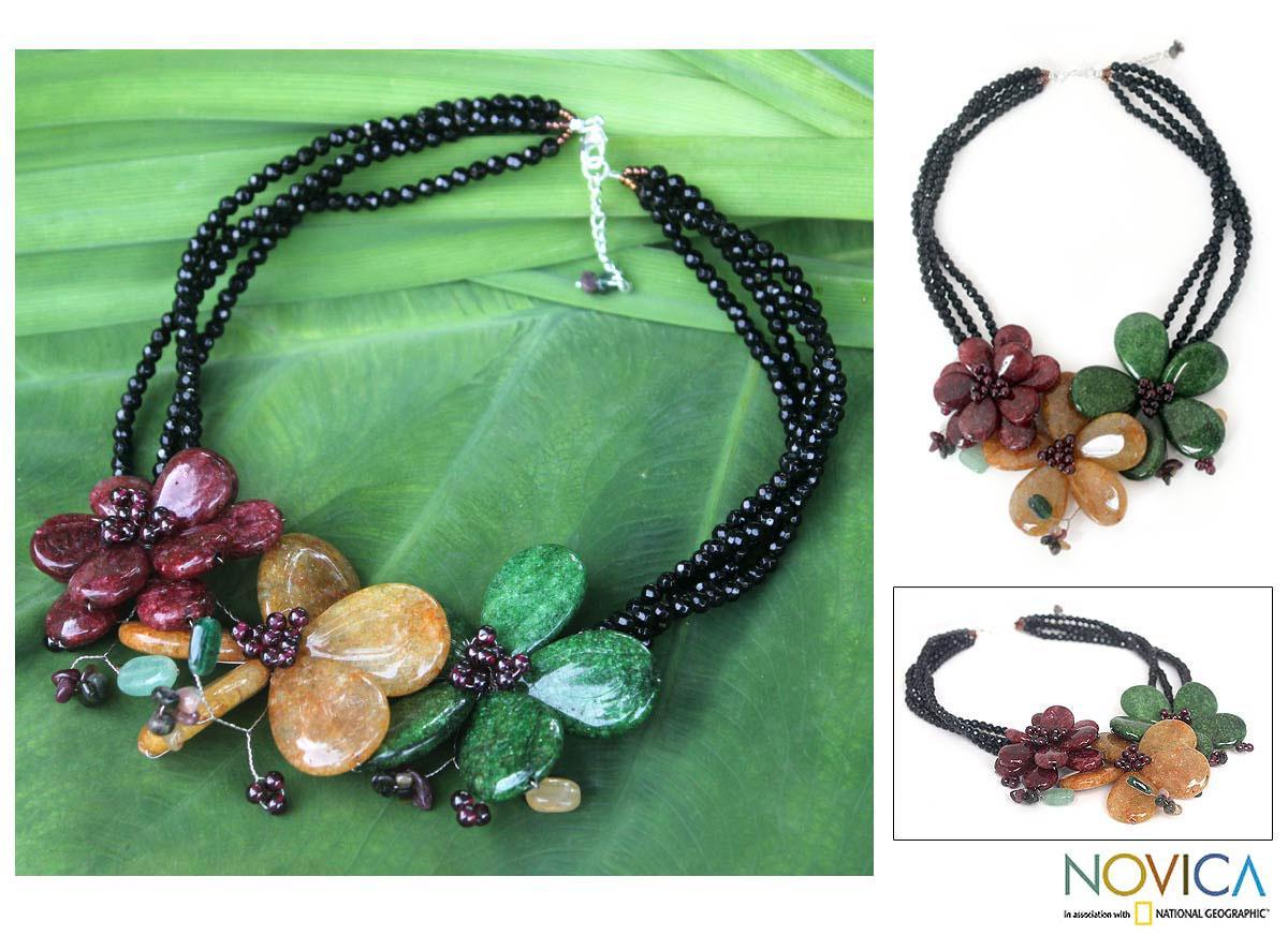Handcrafted Multi-gemstone 'Sparkling Bouquet' Necklace (Thailand)