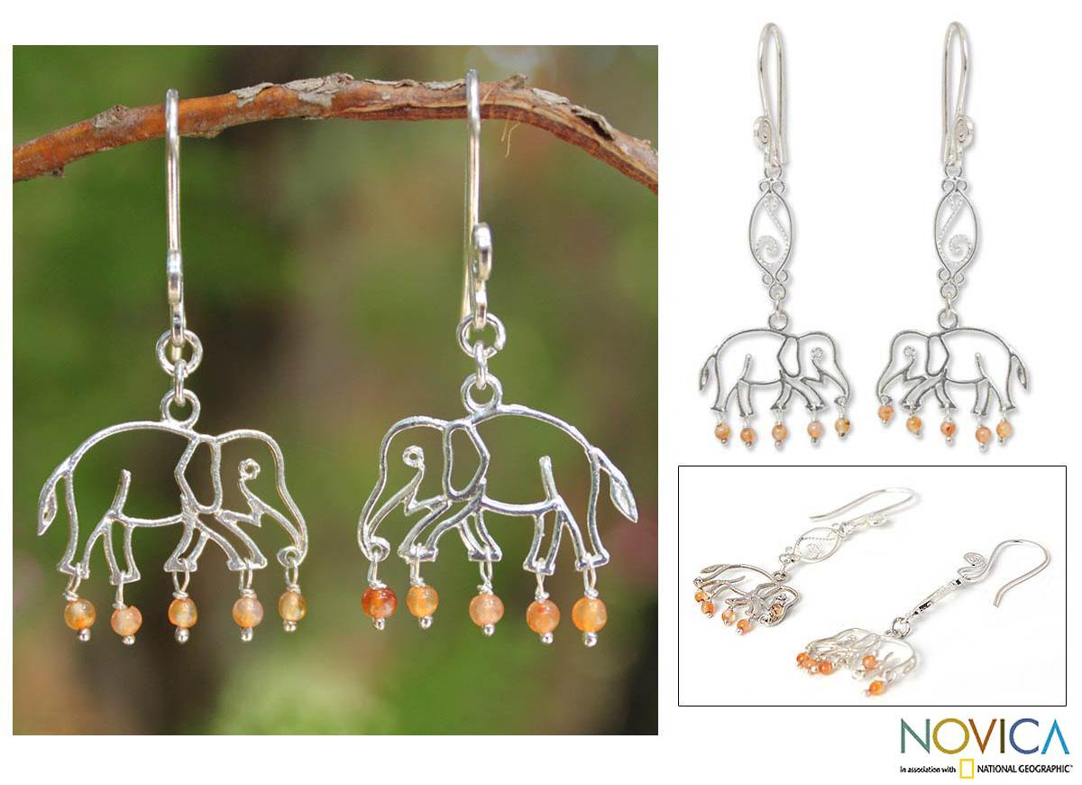 Sterling Silver 'Elephant Glitz' Carnelian Earrings (Thailand)