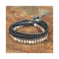 Handmade Onyx 'Midnight Orchid' Jasper Wrap Bracelet (Thailand)