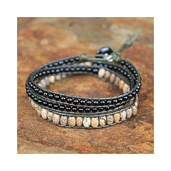 Onyx 'Midnight Orchid' Jasper Wrap Bracelet (Thailand)