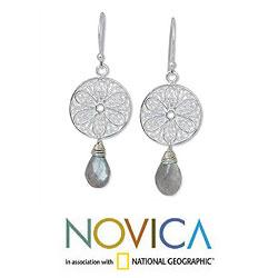 Sterling Silver 'Filigree Daisies' Labradorite Earrings (Thailand)