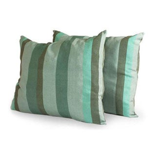 Set of Two Cotton 'Summer Dusk' Cushion Covers (Guatemala)