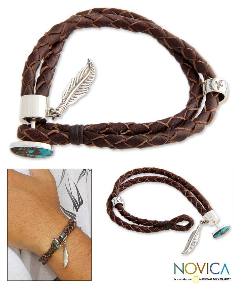 Sterling Silver 'Freedom' Turquoise and Leather Bracelet (Indonesia)