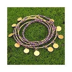 Handmade Gold Overlay 'Deva Dancer' Amethyst Wrap Bracelet (Thailand)