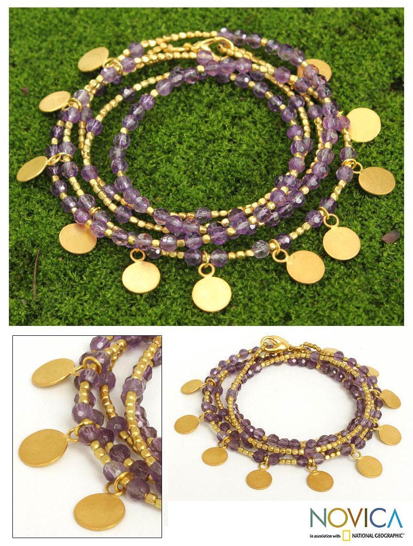 Gold Overlay 'Deva Dancer' Amethyst Wrap Bracelet (Thailand)