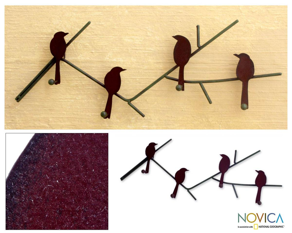 Shop Birds On a Wire Indoor Outdoor Four Peg Hook Key or Coat Rack ...